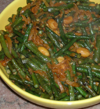 Yacon and green beans with SE Asian flavors